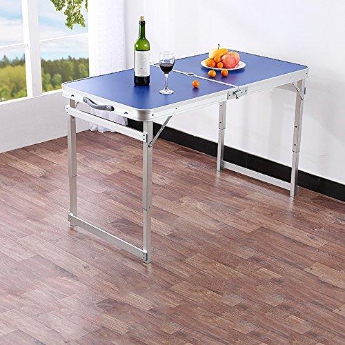 Klapptisch YANFEI Multifunktions Imbiss-Quadrat-Tabelle für Abendessen-Tabellen-Regenschirm-Loch-Quadrat-Rohr 60 * 120CM im Freien (Farbe : Blue) -