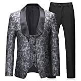 Abiti da Uomo 3 Pezzi Slim Fit Wedding Business Smoking Smoking Button One Grigio Giacca Giacca Gilet Pantaloni