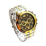 Reloj de pulsera - Orlando Reloj de pulsera de cuarzo de esfera de color oro de banda de acero de aleacion para hombres