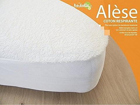 Kadolis Protections de Matelas pour Lit Alèse Bébé Coton Prima 60X120 cm Blanc