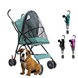 DJLOOKK Carrito Perro Cochecito para Mascotas Cochecito para Cuatro Ruedas para Mascotas, para Gatos, Perros Y Más, Carro Plegable para Pasear, Múltiples Colores,Green