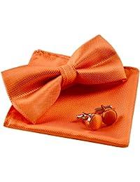 Alizeal Estructura-Pajarita, Pañuelo y Gemelos para Hombre Naranja