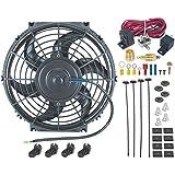 """American V 10""""Inch eléctrico ventilador 12V Radiador de refrigeración 3/8"""" NPT suelo termostato Kit de conmutador"""