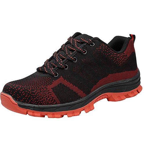Zapatillas de seguridad para mujer, acero en la punta de los dedos, con cordones, ligeras, color morado, talla 42