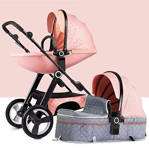 YWEIWEI Kinderwagen,Leicht Kindersportwagen,Klein Faltbar,Leichte Sitzbuggys,für Kinder ab Geburt bis 25 kg, mit Liegefunktion,Reversible Pink-B