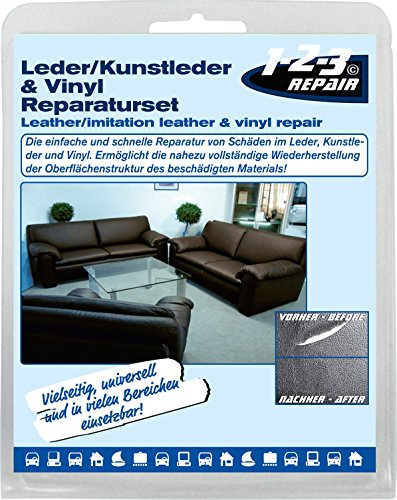 123repair DIY Lederreparatur Set I Leder, Vinyl und Kunstleder Reparatur-Set 15 teilig, 7 Farben I...