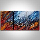 HANDBEMALT Original Abstrakte Kunst Malerei Blau Rot Orange Dick Messer Ölgemälde Abstrakte Malerei in Canvas Art Wand Home Dekoration 3Puzzle, canvas, Blue/Orange/Red, 32x64inch(80x160cm)
