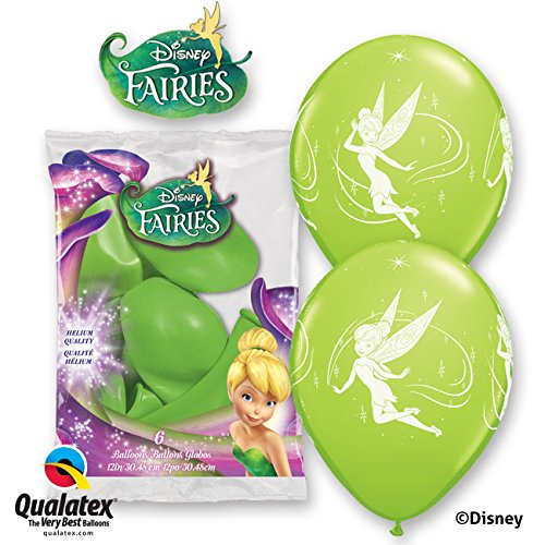 Disney Tinkerbell 30.5cm Limettengrün Qualatex Latexballons x 6