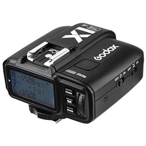 Godox 2.4G E-TTL Wireless LCD Flash Transmitter X1T-C / N / S / O / F FüR Canon EOS / Nikon DSLR / Sony / Olympus Panasonic / Fujifilm Kamera-Schwarz (F) (Lcd Flash Zoom)