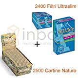 KIT rizla 2500 cartine natura + 2400 filtri ultraslim 5.7 mm