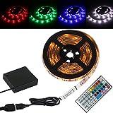 LED Strip Licht Streifen 2m, wasserdicht wechselnde Farben RGB SMD5050, LED-Leiste mit RF Drahtlose fernbedienung + USB kabel Batteriebetriebene box selbstklebende Lichtleiste [Energieklasse A+++]