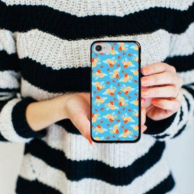 Apple iPhone X Silikon Hülle Case Schutzhülle Engel Herzchen Liebe Hard Case schwarz