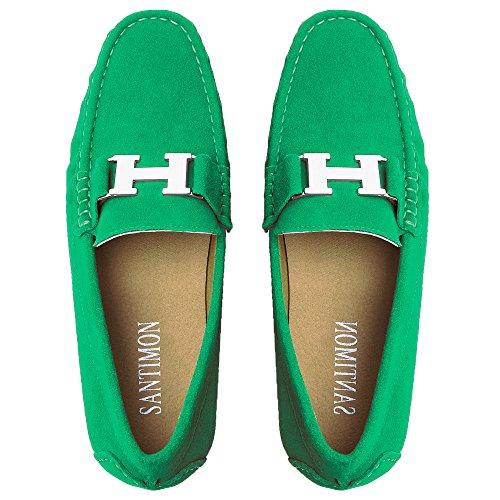 Santimon Mocassins Homme Suède Cuir Plats Slip-on Loafers Loisirs Chaussures Argent Buckle Vert