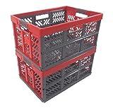 OKT Germany GmbH 2 x Profi - Klappbox TÜV zert. 45 L bis 50 kg anthrazit/rot Faltbox Kunststoff Box Kiste