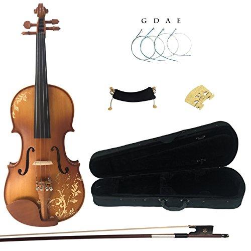 Kinglos 4/4 Blume Geschnitzten Ebenholz Beschläge Massivholz Violine Geige mit Harten Fall, Schulterstütze, Bogen, Kolophonium, Brücke und Saiten (DH003) (Schüler 4 4 Violine)