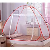 Adofo Foldable Mosquito Net Flexible for Double Bed, King Size Bed, Queen Size Bed - for Baby and Adult Protection(RED)