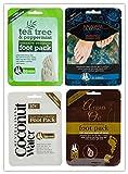 PAJEE TM - 4 confezioni di calze idratanti per piedi, 1 all'olio di macadamia, 1 all'olio di argan, 1 all'acqua di cocco, 1 all'olio di tea tree e menta, idratazione profonda