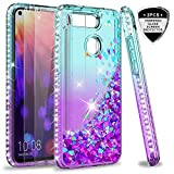 LeYi Hülle Huawei Honor View 20 Glitzer Handyhülle mit Panzerglas Schutzfolie(2 Stück), Diamond Cover Bumper Schutzhülle für Case Huawei Honor View 20 Handy Hüllen ZX Gradient Turquoise Purple