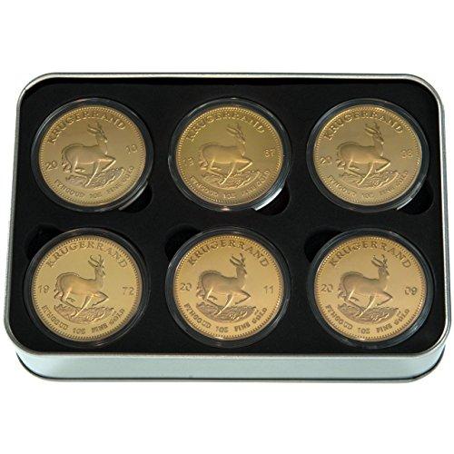 Geschenk-Set - Krügerrand Medaille / Münzen - 24 Karat vergoldet - Scherzartikel