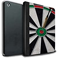 STUFF4 PU Leather Book/Cover Case for Apple iPad 9.7 (2017) tablets / Bull/Bullseye Design / Darts Photo Collection
