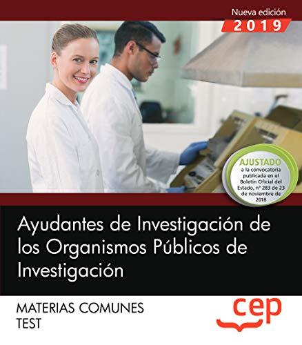 Ayudantes de Investigación de los Organismos Públicos de Investigación. Materias comunes. Test por Editorial CEP