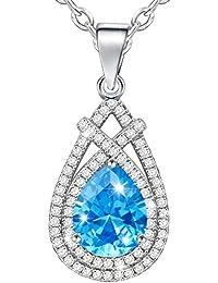 MARENJA - Collier Fantaisie Femme - Pendentif Goutte d'Eau Bleu avec Chaîne – Bijoux Cristal en Plaqué Or Blanc
