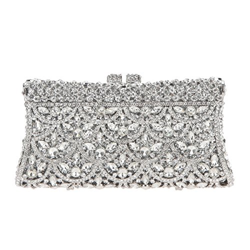 Flip Prom Kleider (Bonjanvye Evening Party Clutch Handbag Prom Party Bag for Ladies Silver)