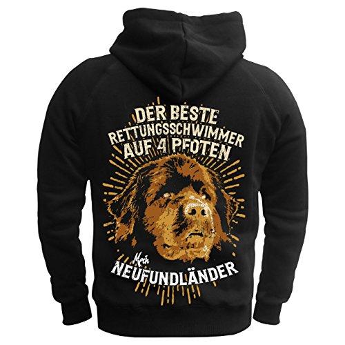Männer und Herren Kapuzenpullover Neufundländer - Der beste Rettungsschwimmer auf 4 Pfoten (mit Rückendruck) schwarz/gelbe Kapuze