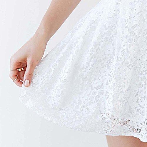 ESHOO Femme Robe de cocktail en dentelle Sans Manches Blanc