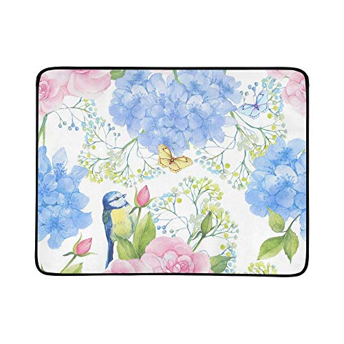 EIJODNL Bird Pink Rose Butterfly Portable and Foldable Blanket Mat 60x78 Inch Handy Mat for Camping Picnic Beach Indoor Outdoor Travel Pink Butterfly Handy