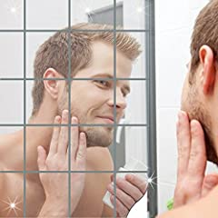 Idea Regalo - 3D Specchio Adesivo in Acrilico, YTAT Fai da Te Removibile Decorazione di Casa Specchio Mosaico - Argento, 9 Pezzi Specchi Quadrati per Casa Negozi Bar Caffe(10x10x0.2cm) (Argento, 2mm)