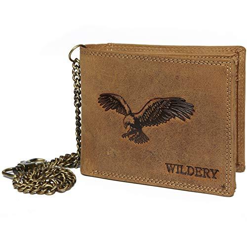 3f0e310ff91aa Wildery ® Herren Leder Geldbörse mit Kette im Querformat Braun mit Prägung  Elegante Brieftasche Herren Portemonnaie Voll-Leder Börse Portmonee