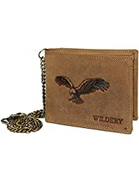 8648102ffa23d Wildery ® Herren Leder Geldbörse mit Kette im Querformat Braun mit Prägung  Elegante Brieftasche Herren…