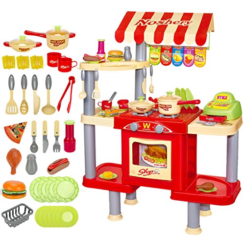 deAO Cocina Restaurante Puesto de Comida Rápida 2en1 Fast Food Playset Incluye Variedad de Accesorios de Cocina