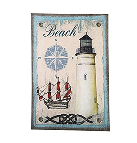 Xiuxiandianju Creative Continental Nostalgia Retro Beach Lighthouse Hanging Pictures Mural