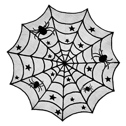 Martinad Top Selling Halloween Party Dekoration Spinne Runde Web Tischdecke Unikat Topper Abdeckungen Kamin Tisch Party Decor 102Cm(Schwarz 102Cm) (Color : Colour, Size : Size)