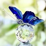 Cristal de verre papillon petite statue décoration de bureau Mobilier de noel décoration de maison artisanat (bleu)...