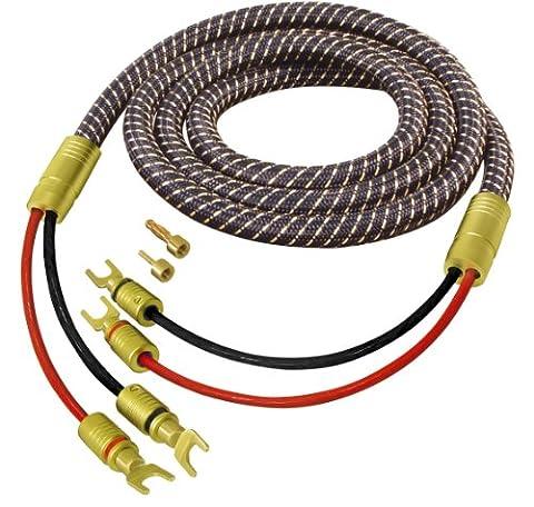 All4u BNL 10 Lot câble pour enceinte haut de gamme avec 2 paires de connecteurs interchangeables plaqué or et 2 connecteurs interchangeables plaqué or 2 2x 3m Noir