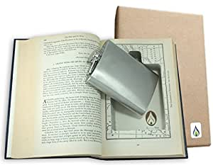 SneakyBooks Recycled Hollow Hidden Flask Book Diversion Safe (Flask Included)