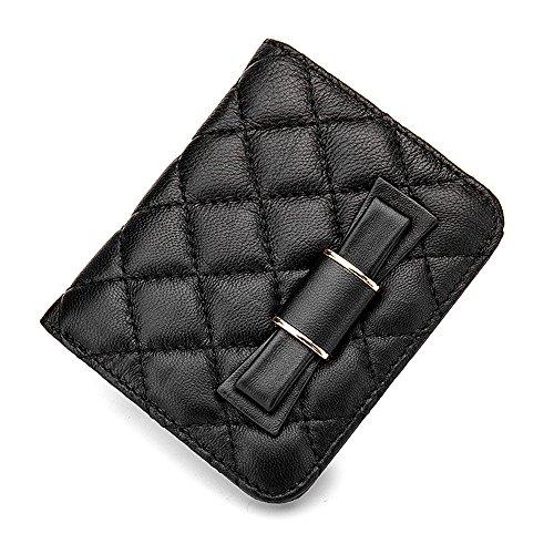 Artemis'Iris Donne Ultra Slim Compact plaid raccoglitore della tasca elegante Vera Pelle Carte Denaro Cambio dell'organizzatore del supporto di prua borsa corto, blu blue
