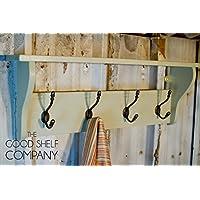 "Pine Coat Rack with Shelf (36"" - 5 hook, French Gray)"