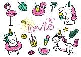Edition Colibri 10 inviti per Festa di Compleanno; Motivo: Unicorno in Piscina / inviti di Compleanno per Bambini / in Italiano (10940 IT)