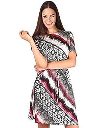 KRISP® Damen Muster Tunikakleid mit Taillenband