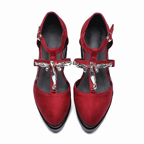 Vermelho Mulheres Nobuk Calcanhar De Bombas Mee Rodada Sapatos Cunha T barrette wBWHqnOX