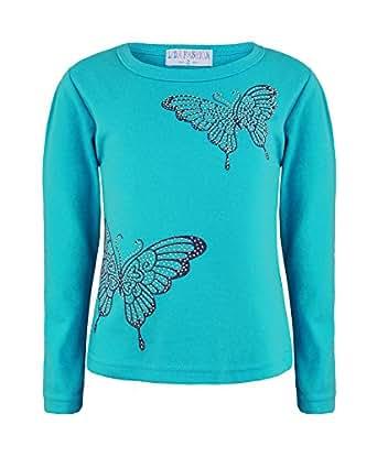 Mädchen Langarm Oberteil Strass Schmetterling Aufdruck Trikot T-Shirt Kinder Fashion - Türkis, Mädchen, 86-92
