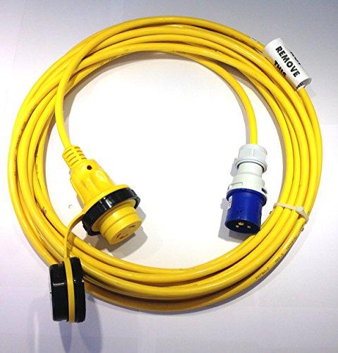 HTH Art. 908 Landanschlusskabel CEE 230V 16A auf US Marinco 16A, NEMA mit 15m Bootskabel Landanschluss-kabel