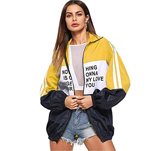 WLXFVNYBD Lässige Zip Up Color Block Brief Print Jacke Langarm Active Wear Jacken Herbst Frauen Athleisure Overcoat, S Block-print-jacke