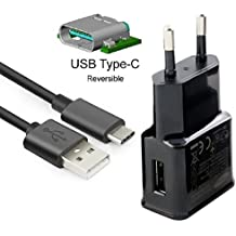 Theoutlettablet® Cargador de Pared USB con cable usb type-c wall charger para Smartphone Xiaomi Mi4c / Mi 5 / Mi5 Plus color NEGRO
