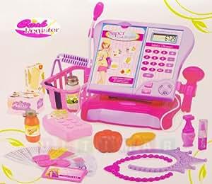 Caisse enregistreuse electronique avec calculatrice, Caisse enregistreuse jouet, Caisse enregistreuse pour enfant, Caisse du supermarché - calculatrice électronique, lecteur de carte de crédit, un lecteur de code ? barres, tiroir verrouillable