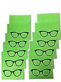 Panni in microfibra per pulizia degli occhiali, 10 pezzi, colore verde, grandi dimensioni 18 x 14,5 cm, adatti anche per fotocamera, iPad, iPhone, tablet e computer